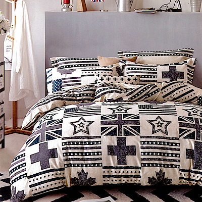 生活提案 純棉涼被床包組 加大四件組 英倫風