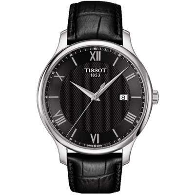 TISSOT T-TRADITION 經典薄型紐索紋石英腕錶-黑/42mm