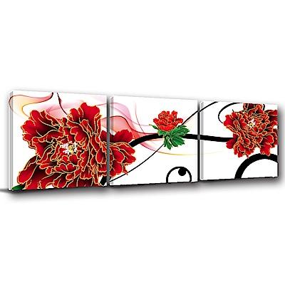 24mama掛畫-三聯式方型 掛畫無框畫 鮮紅 50x50cm