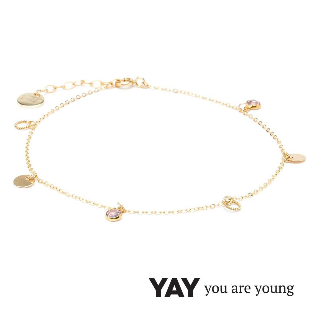 YAY You Are Young 法國品牌 Sultane 粉水晶腳鍊 金色