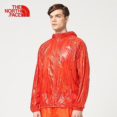 The North Face北面男款橘色防潑水運動輕量風衣