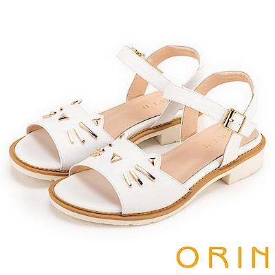 ORIN 甜美童趣 貓咪荔枝紋牛皮粗低跟涼鞋-白色