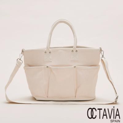 OCTAVIA  8  - 簡單生活 純色六個口袋帆布托特包 - 愛白