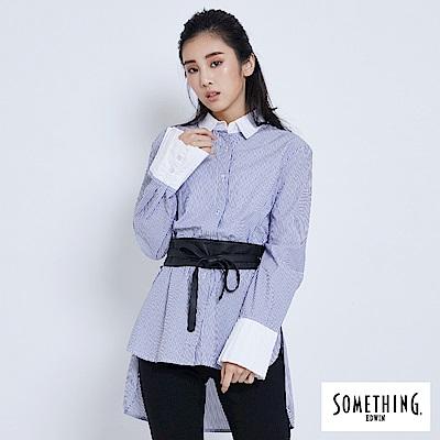 SOMETHING 打褶袖直條造型襯衫-女-藍色