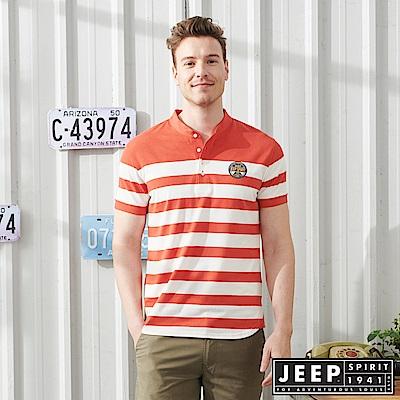 JEEP時尚亨利領條紋短袖POLO衫-時尚橘