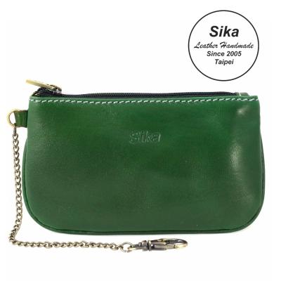 Sika義大利時尚真皮經典拉鍊零錢包A8238-08深墨綠