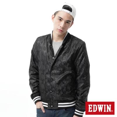 EDWIN 外套 提織迷彩風衣外套-男-黑色