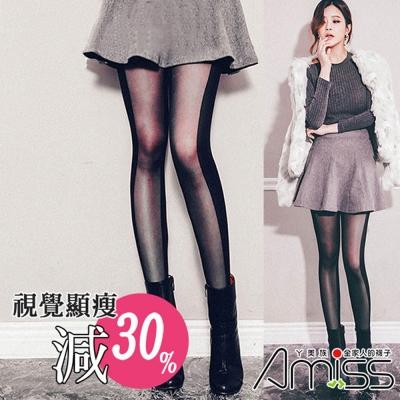 Amiss機能感 歐美時尚側邊直條顯瘦陰影褲襪(4入組)
