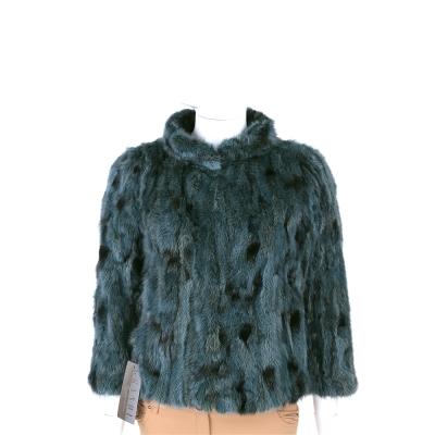 GRANDI furs 綠色立領設計皮草外套