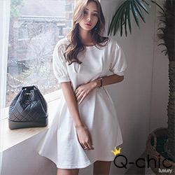 正韓 純色圓領泡泡短袖洋裝 (共三色)-Q-chic