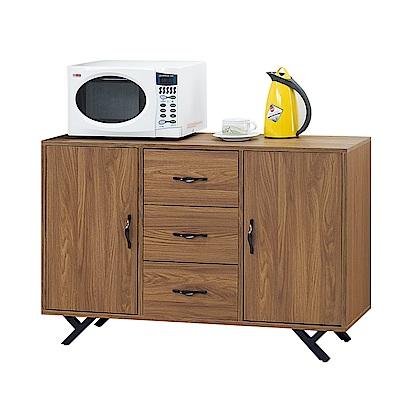 Bernice-莫拉4尺簡約工業風收納餐櫃/碗盤櫃-121x40x82cm