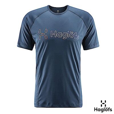 Haglofs 男 Fast Graphic 咖啡紗抗臭短袖T恤 塔恩藍色