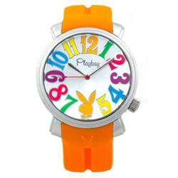 PLAYBOY 60週年紀念錶款 銀色框+橘色帶/44mm