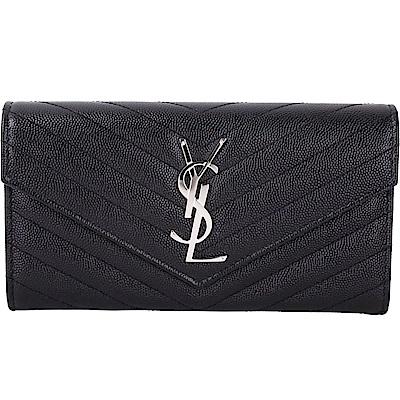 YSL Saint Laurent Monogram 絎縫荔紋牛皮釦式長夾(黑色)