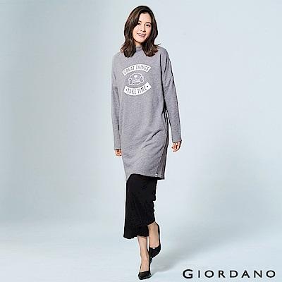 GIORDANO 女裝主題俏皮印花長袖長版連身洋裝 - 01 中花灰