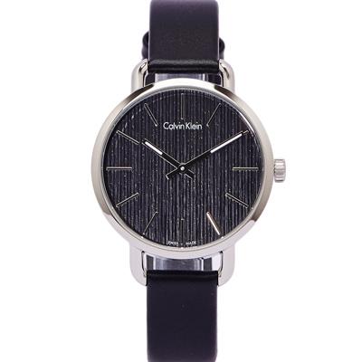 CK Calvin Klein 大自然木質感手錶(K 7 B 231 C 1 )-黑面X銀框/ 36 mm
