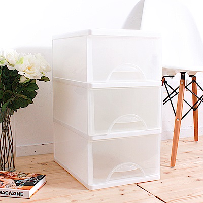 HOUSE 台灣製 中純白三層收納櫃50L