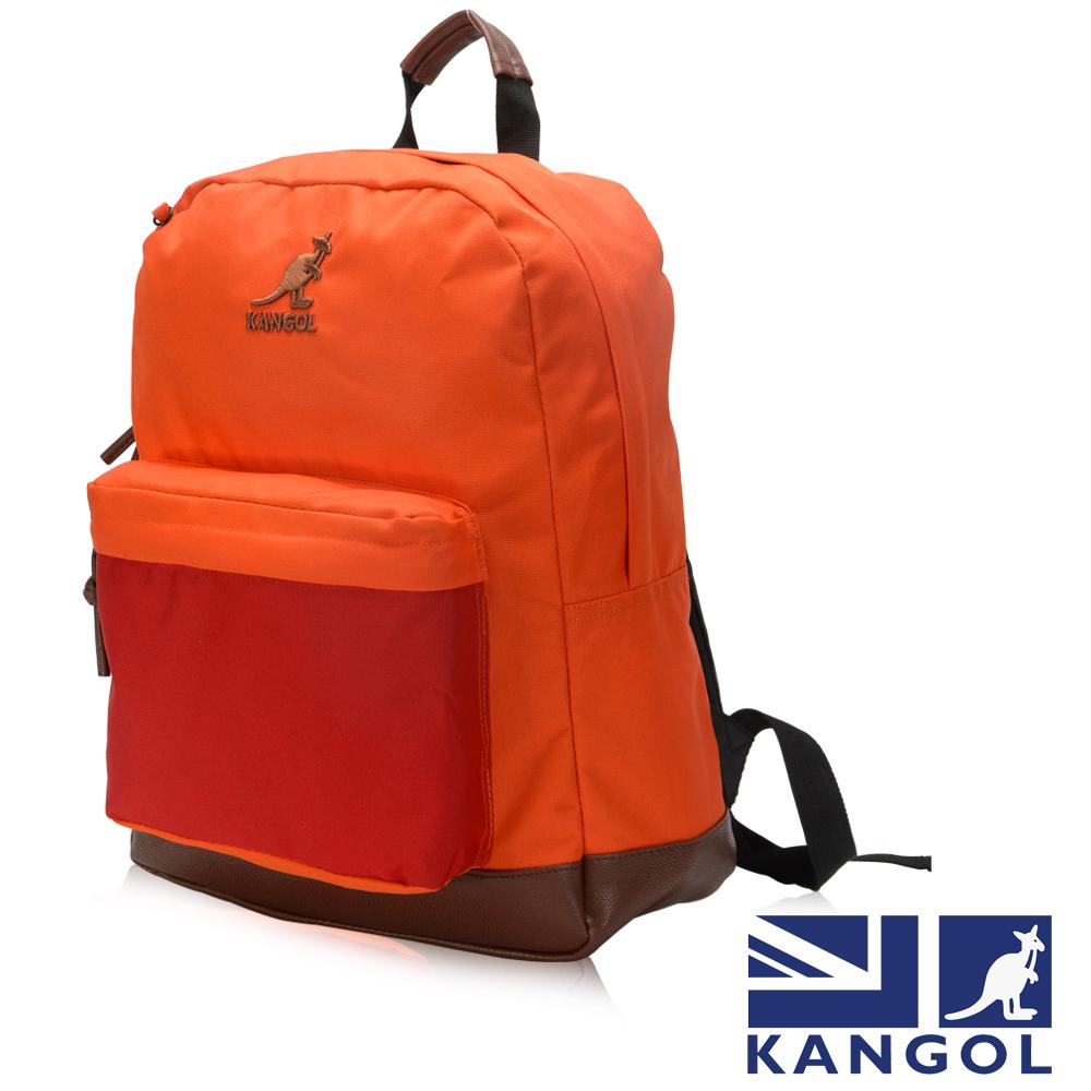 KANGOL 英式新潮時尚後背包袋鼠繡LOGO橘碰紅元素可置放15吋筆電後背包-橘配紅