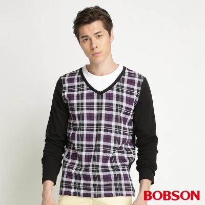 BOBSON-男款合身版仿兩式長袖紫色上衣