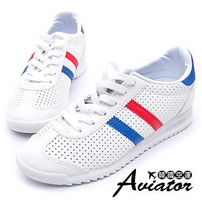 Aviator*韓國空運-正韓製皮革洞洞雙斜條紋運動休閒鞋-藍紅