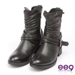 ee9 經典手工~都會簡約酷勁個性繫帶百搭素面粗跟中筒靴-黑色