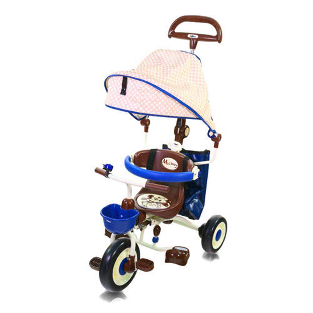 米奇摺疊敞篷三輪車藍IDES三輪車兒童騎乘