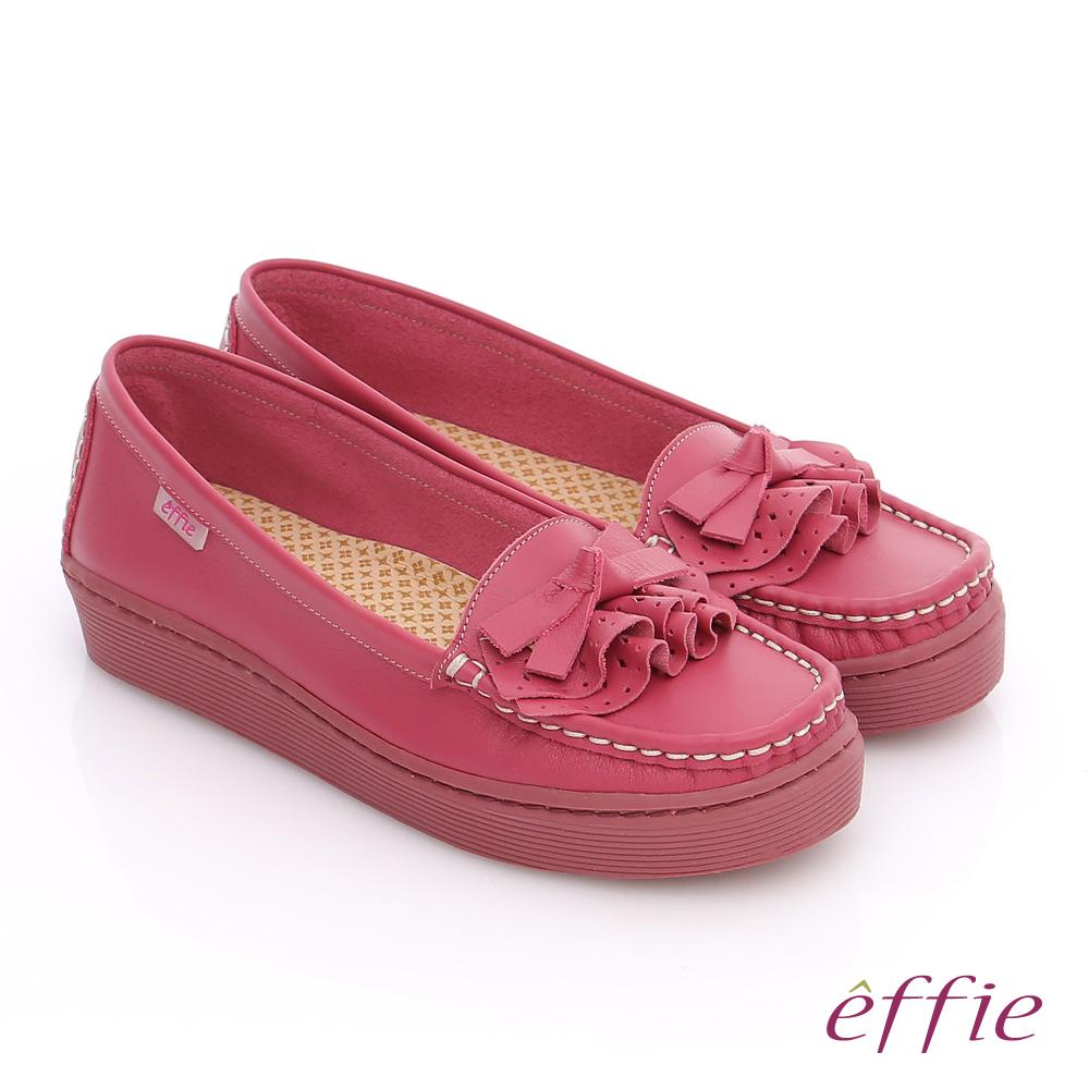 effie 縫線包仔鞋 真皮手工縫線花褶奈米平底鞋 粉紅
