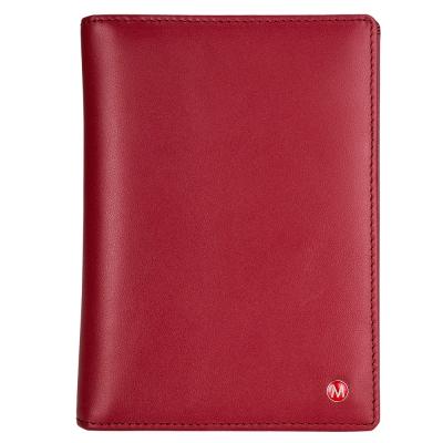 MONDAINE-瑞士國鐵牛皮雙色護照夾-紅x米