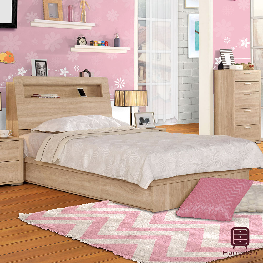 漢妮Hampton吉柏森系列3.5尺被櫥式單人床組-106x213.5x98.5cm