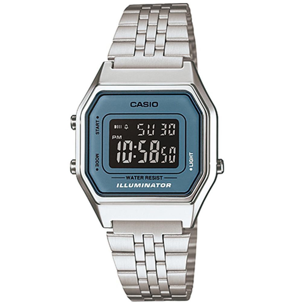 CASIO 經典復古數字型電子錶-(LA-680WA-2B)銀色x藍框黑面/28.6mm