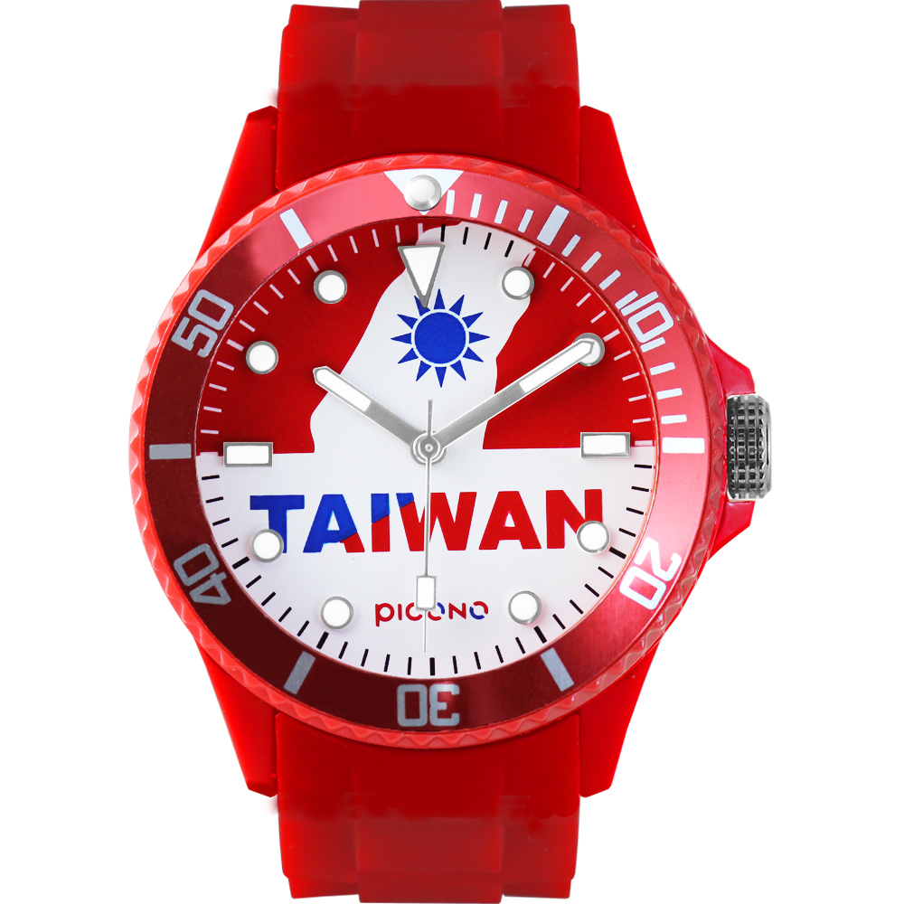 PICONO 國旗系列腕錶-福爾摩沙x紅/48mm