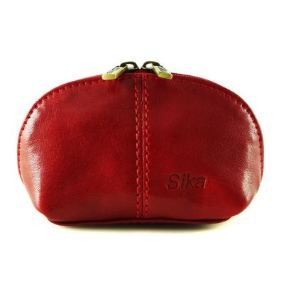 Sika義大利時尚真皮復古小巧拉鍊零錢包A8259-04魅惑紅