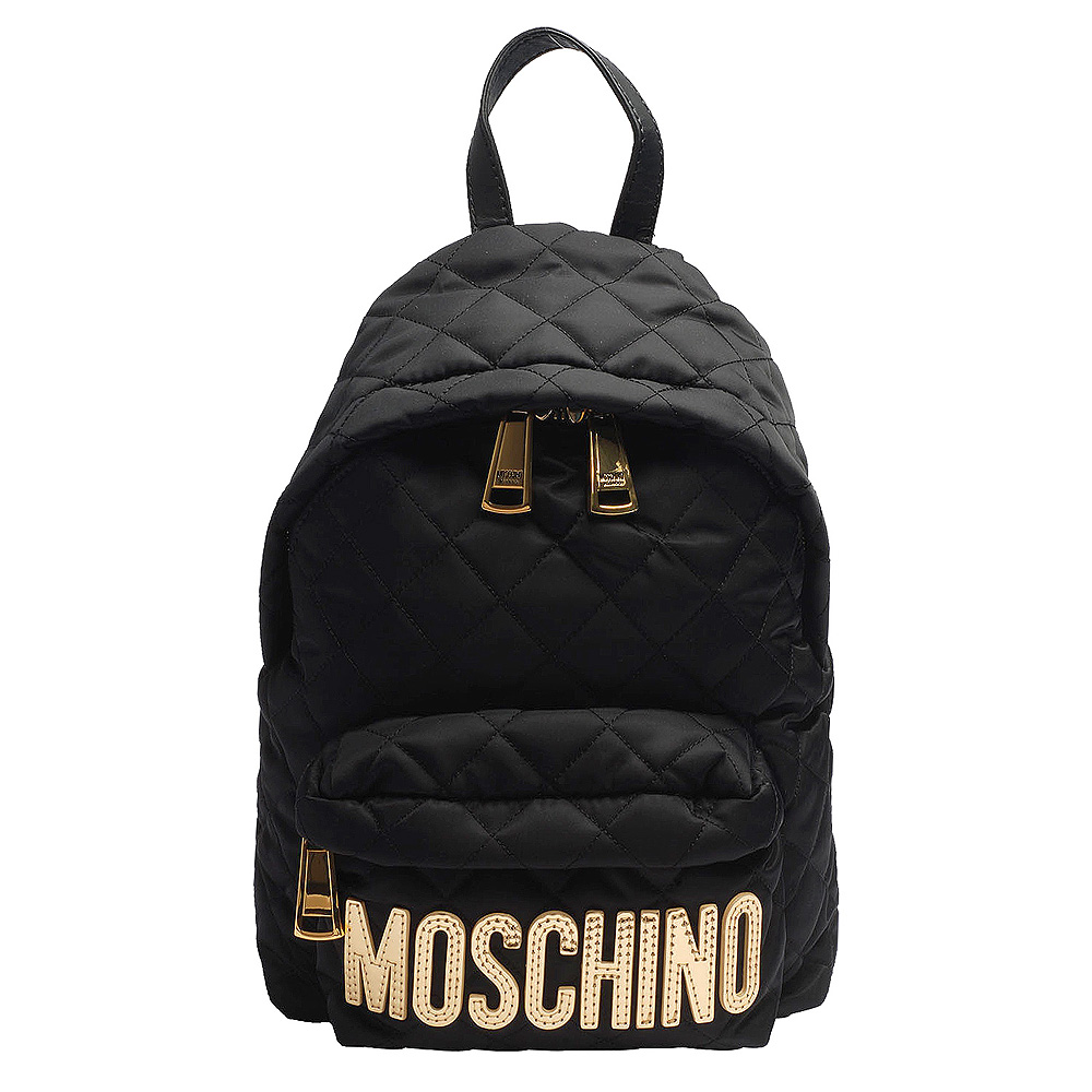 MOSCHINO 菱格紋縫線金色LOGO尼龍後背包(小-黑)