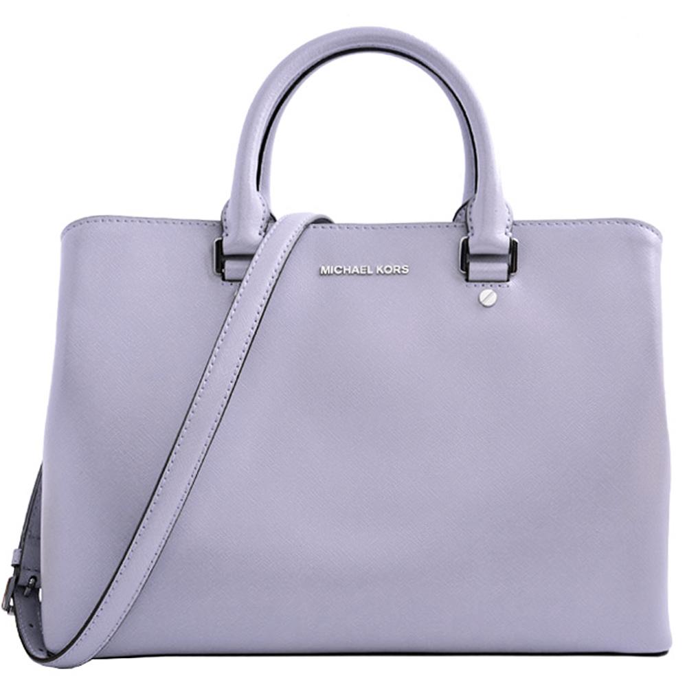 MICHAEL KORS Savannah亮面防刮皮革三層手提側背包-大紫丁香