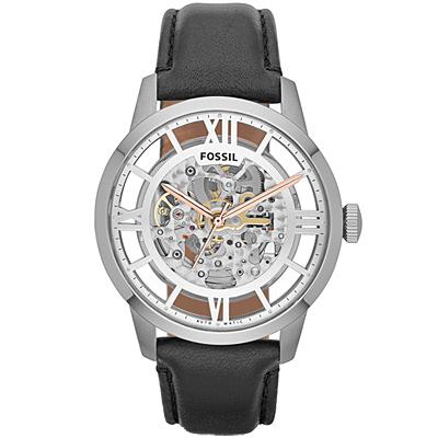 FOSSIL Townsman復古風尚鏤空機械腕錶-銀/43mm