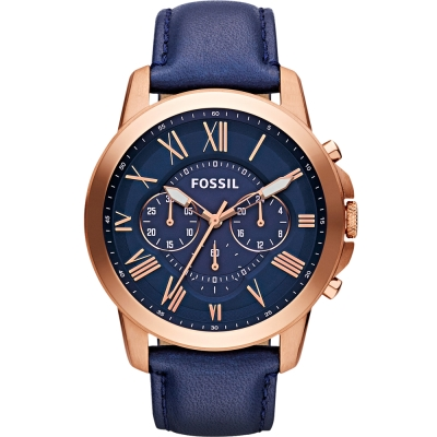 FOSSIL Grant經典復刻計時手錶-深藍X玫瑰金框/44mm