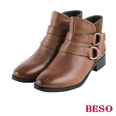 BESO率性造型 雙釦五金穿條全真皮短靴~茶