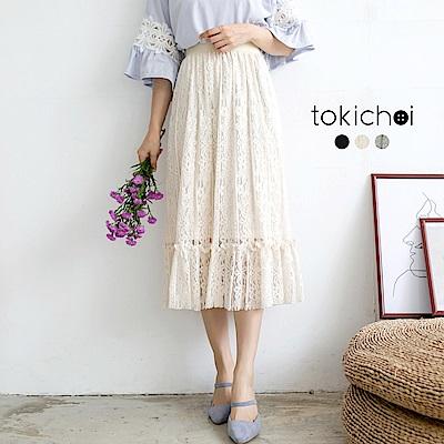 東京著衣 多色舒適優雅層次蕾絲長裙-S.M(共三色)