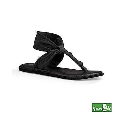 SANUK 素面瑜珈墊T字涼鞋(深灰色)