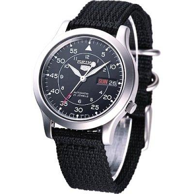 SEIKO 第二代軍用帆布機械錶-黑/38mm