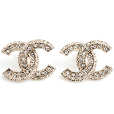 CHANEL 香奈兒經典CC LOGO大小水鑽鑲嵌造型穿式耳環(金)