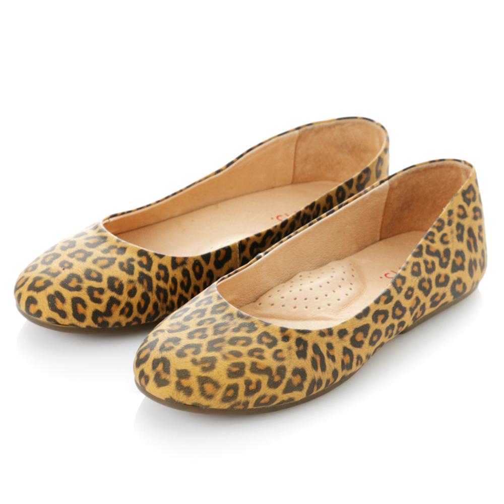 【G.Ms.】旅行女孩II‧素面全真皮可攜式軟Q娃娃鞋(附專屬鞋袋) ‧豹紋