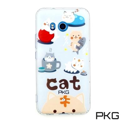 PKG HTC U11彩繪空壓氣囊保護殼-浮雕彩繪-日常貓