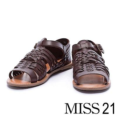 涼鞋 MISS 21 自然樸實編織造型全真皮平底涼鞋- 咖
