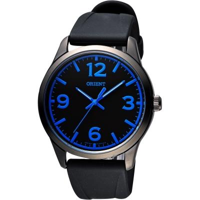 ORIENT 運動玩家大數字腕錶-黑x藍時標/43mm