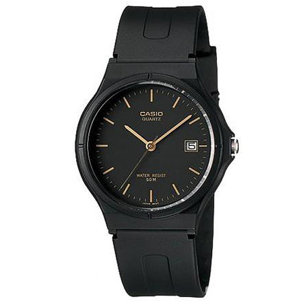 CASIO 超輕薄感時尚指針錶(MW-59-1E)-黑底金字