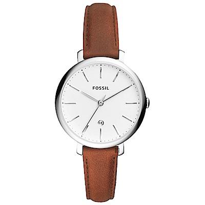 FOSSIL 都會魅力時尚女錶-白x咖啡/36mm
