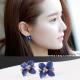 梨花HaNA韓國蜜藍紫卉花朵水鑽耳環夾式