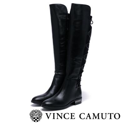 Vince Camuto  摩登款綁帶粗跟長靴-黑色
