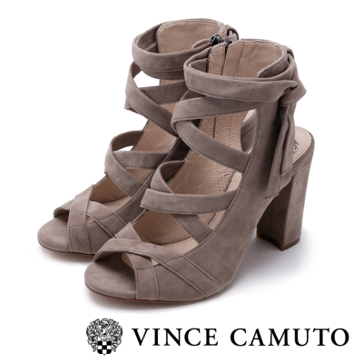 VINCE CAMUTO 華麗經典 麂皮編織粗跟涼鞋-米色